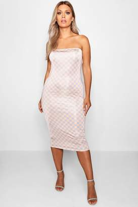 boohoo Plus Nude Check Bandeau Midi Dress