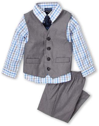 Nautica Infant Boys) 4-Piece Sharkskin Suit Vest & Pants Set