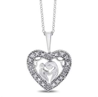 10k White Gold 0.15 Ct. Mother & Baby Diamond Heart Love Pendant