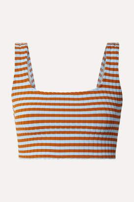 Solid & Striped Jamie Striped Ribbed Bikini Top - Sky blue