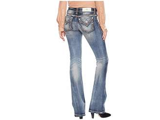 Miss Me Mid-Rise Bootcut with Thick Border Stitching in Medium Blue