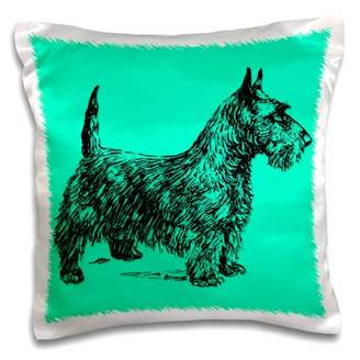 3dRose Scottish Terrier. Doggy. Bright turquoise and black. - Pillow Case, 16 by 16-inch