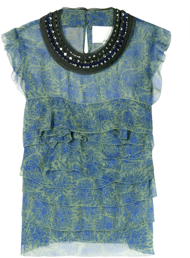3.1 Phillip Lim Silk Jewelled Ruffle Top