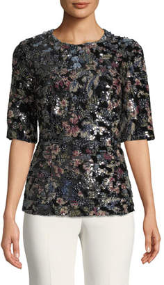 Badgley Mischka Fitted Sequin Floral Top
