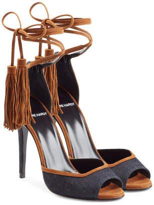 Pierre Hardy Denim Sandals with Tassel Ankle Tie