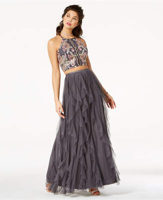 Teeze Me Juniors' Embellished Ruffled 2-Piece Gown, Created for Macy's