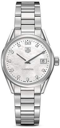 Tag Heuer Carrera Stainless Steel and White Mother of Pearl Dial Watch with Diamonds, 32mm