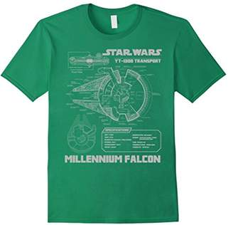 Star Wars Millennium Falcon Grey Schematics Graphic T-Shirt