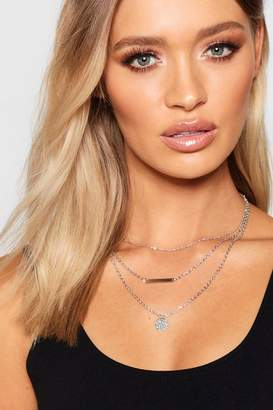 boohoo Layered Coin And Bar Necklace