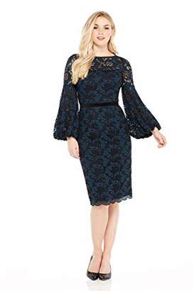 Maggy London Women's Plum Swirl Lace Novelty Sheath with Bishop Sleeve Detail