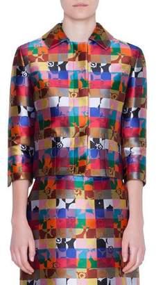 Akris Punto Cropped Floral-Jacquard Jacket
