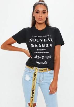 Missguided Black Nouveau Graphic TShirt