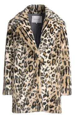 Frame Cheetah Print Faux-Fur Coat