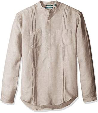 Cubavera Men's Long Sleeve 100% Linen Tunic-Style Shirt with Pockets and Pleats
