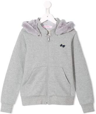 Familiar zipped hooded sweatshirt