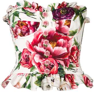 Dolce & Gabbana peony print bustier top