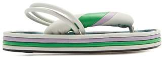 Isabel Marant Etanee Tri Colour Leather Flatform Sandals - Womens - White Multi