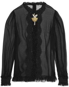 Dolce & Gabbana Ruffle-Trimmed Embellished Silk-Blend Chiffon Shirt