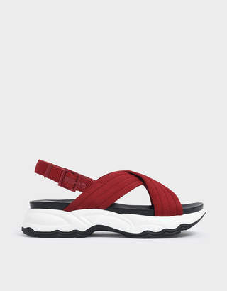 Charles & Keith Nylon Criss Cross Chunky Platform Sandals