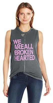 Freecity Women's Broken Hearted Studded Slvss T-Shirt