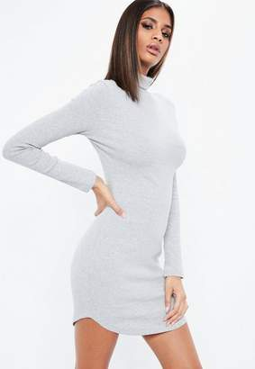 Missguided Gray Ribbed Long Sleeve Turtle Neck Bodycon Dress