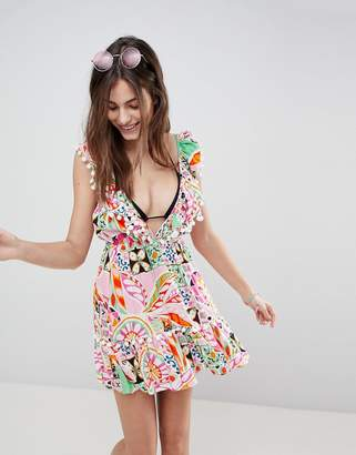 Asos DESIGN New Retro Print Pom Pom Tiered Beach Sundress