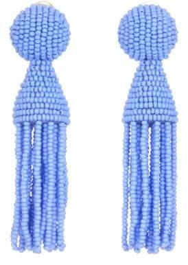 Oscar de la Renta Cornflower Short Beaded Tassel Earrings