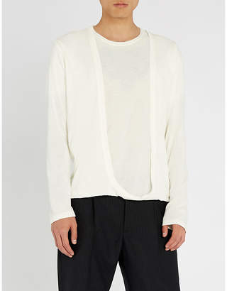 Chalayan Cardigan-panel cotton-jersey top