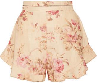 Zimmermann Corsair Flutter Crochet-trimmed Floral-print Linen Shorts