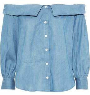 Veronica Beard Britta Off-the-shoulder Gathered Chambray Top