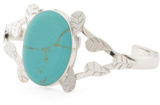 Made In Mexico Sterling Silver Turquoise Leaf Cuff Bracelet