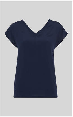 Whistles V Neck Silk Front Top