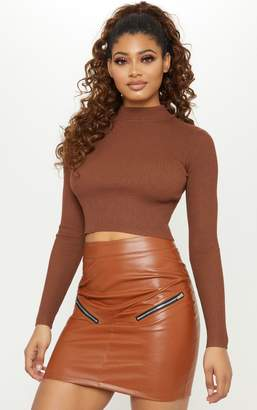 PrettyLittleThing Tall Brown Faux Leather Zip Detail Mini Skirt