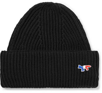 MAISON KITSUNÉ Logo-Appliquéd Ribbed Wool Beanie