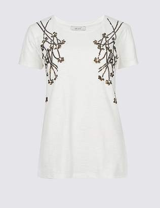 Marks and Spencer Cotton Rich Embellished Branch Front T-Shirt