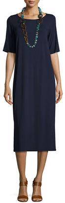 Eileen Fisher Half-Sleeve Jersey Midi Dress, Petite $188 thestylecure.com