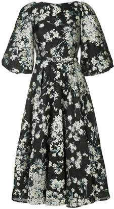 Co floral flared midi dress