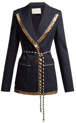 Peter Pilotto Single Breased Lame Trim Blazer - Womens - Navy