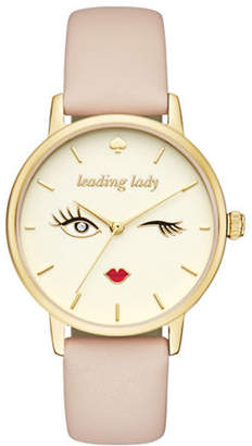 Kate Spade Analog Novelty Metro Sparkle All Night Leather Strap Watch