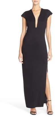 Fraiche by J Plunge Neck Jersey Maxi Dress