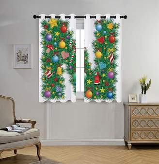 N. oobon Stylish Window Curtains,Letter N,Capital in Green Color with Coniferous Leaves Bells Bowknots Hearts and Stars Decorative,Multicolor,2 Panel Set Window Drapes,for Living Room Bedroom Kitchen Cafe