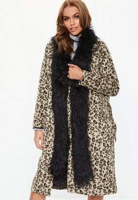 Missguided Black Longline Faux Fur Scarf