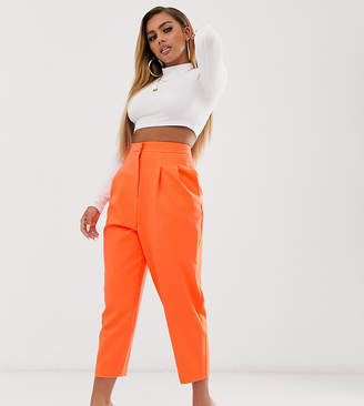 Asos DESIGN petite extreme tapered 80s trousers in pop orange