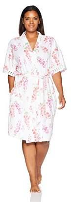 "Karen Neuburger Women's Plus Size Short Sleeve Kimono 37"" Robe"