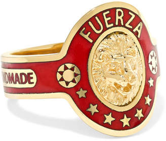 Foundrae - Strength 18-karat Gold Enamel Ring