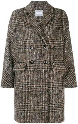 Barba checked double breasted coat