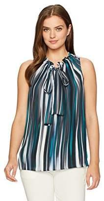 Ellen Tracy Women's Ruffle Tie Neck Shell