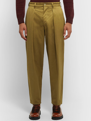 MONITALY Tapered Pleated Cotton-Sateen Trousers