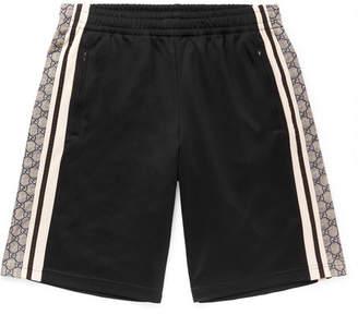 Gucci Logo-Print Striped Tech-Jersey Shorts