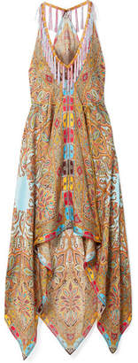 Etro Asymmetric Printed Silk-twill Midi Dress - Beige